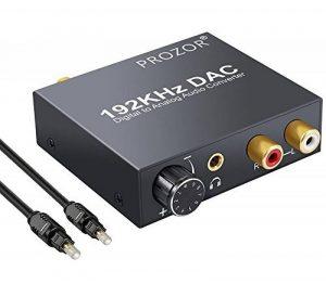 PROZOR 192KHz DAC Convertisseur Numérique SPDIF Optique Coaxial Toslink vers Analogique Audio Stéréo L/R RCA Jack 3,5 mm Adaptateur Convertisseur Volume Réglable avec Câble d'Alimentation USB et Câble Optique 4,0 OD Adaptateur Audio Vidéo en Alliage d image 0 produit