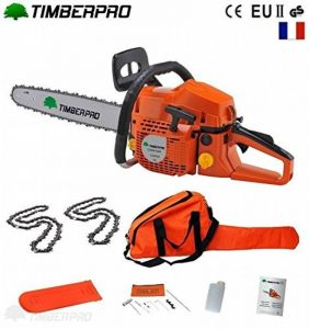 Tronçonneuse thermique 58 cm3, guide 40 cm (16 pouces) 2 chaines + housse de transport et accessoires de la marque TIMBERPRO FR image 0 produit