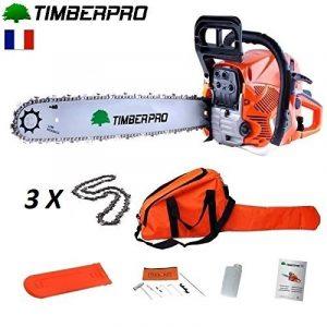 Tronçonneuse Timberpro 62 cm3 guide de 50 cm avec 3 chaines + housse de transport de la marque TIMBERPRO FR image 0 produit